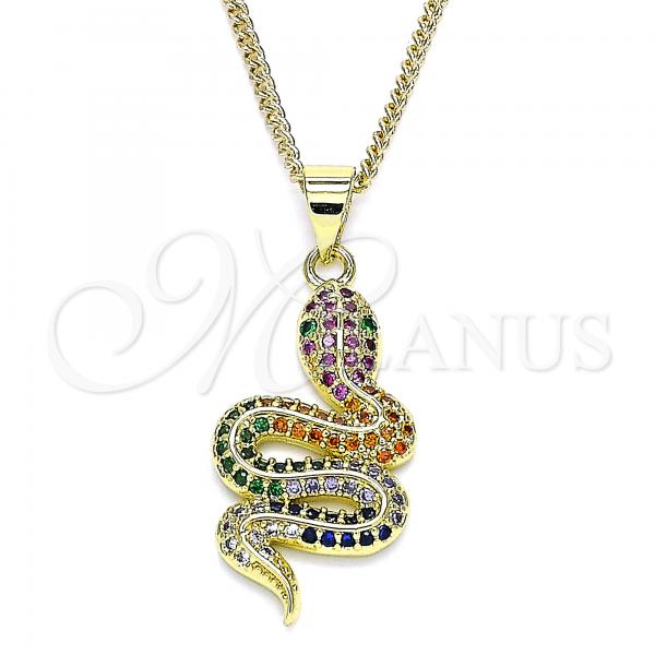 Gold Layered 04.341.0026.1.20 Pendant Necklace, Polished Finish, Golden Tone Snake Design, with Multicolor Micro Pave, Polished Finish, Golden Tone
