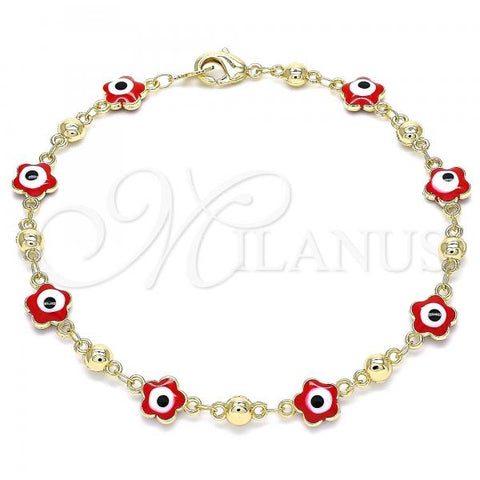 Gold Layered 03.213.0072.2.08 Fancy Bracelet, Greek Eye and Flower Design, Red Enamel Finish, Golden Tone
