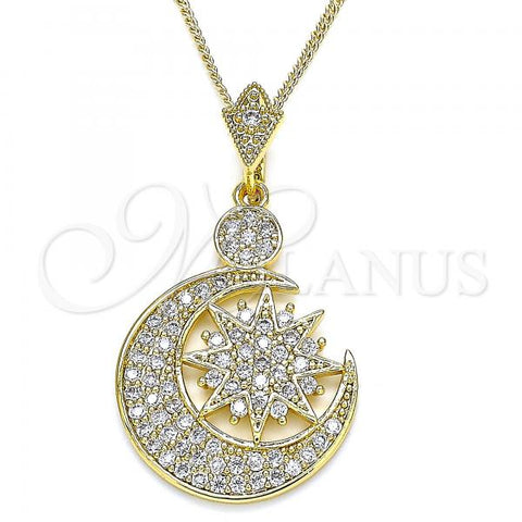 Gold Layered 04.283.0025.20 Pendant Necklace, Moon Design, with White Cubic Zirconia, Polished Finish, Golden Tone