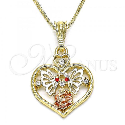 Gold Layered 04.351.0022.20 Pendant Necklace, Heart and Butterfly Design, with Garnet and White Crystal, Polished Finish, Tri Tone