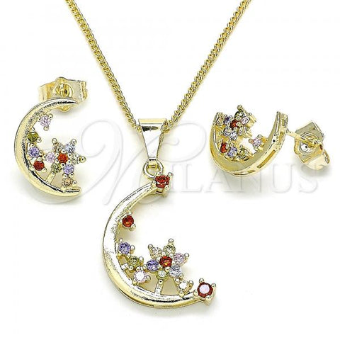 Gold Layered 10.284.0008.1 Earring and Pendant Adult Set, Moon and Flower Design, with Multicolor Cubic Zirconia, Polished Finish, Golden Tone