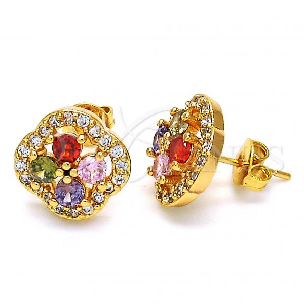 Gold Layered 02.343.0001 Stud Earring, with Multicolor Cubic Zirconia, Polished Finish, Golden Tone