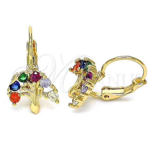 Gold Layered 02.210.0383.3 Leverback Earring, Tree Design, with Multicolor Cubic Zirconia, Polished Finish, Golden Tone