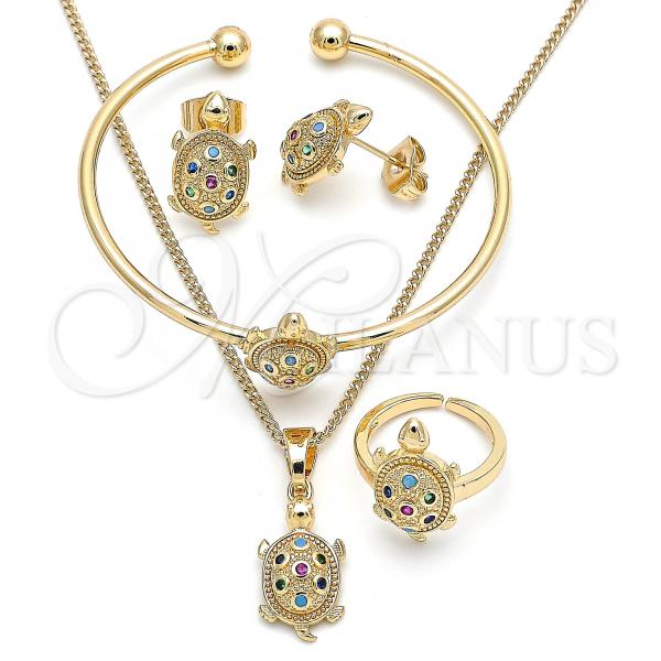 Gold Layered 06.210.0025.1 Earring and Pendant Children Set, Turtle Design, with Multicolor Micro Pave, Polished Finish, Golden Tone
