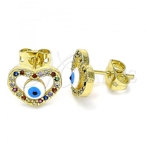 Gold Layered 02.381.0013 Stud Earring, Heart and Greek Eye Design, with Multicolor Micro Pave, White Enamel Finish, Golden Tone