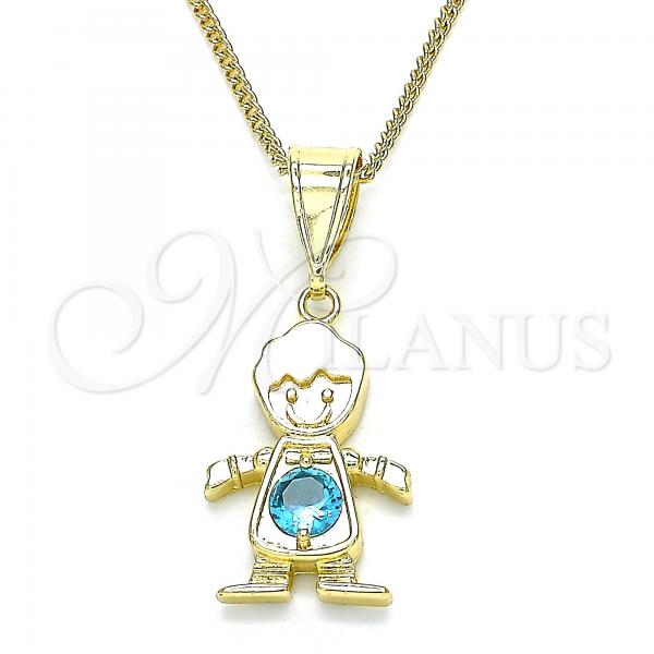Gold Layered 04.253.0014.20 Pendant Necklace, Little Boy Design, with Aqua Blue Cubic Zirconia, Polished Finish, Golden Tone