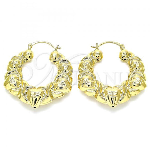 Gold Layered 5.149.003.40 Medium Hoop, Hugs and Kisses and Hollow Design, Diamond Cutting Finish, Golden Tone
