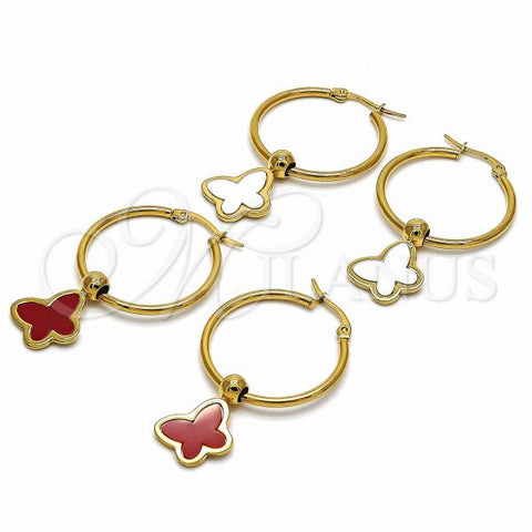 Stainless Steel Medium Hoop, Butterfly Design, Golden Tone