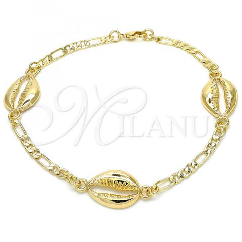 Gold Layered 03.63.2081.10 Fancy Anklet, Polished Finish, Golden Tone