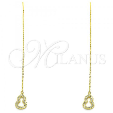 Sterling Silver 02.366.0010.1 Threader Earring, with White Micro Pave, Polished Finish, Golden Tone