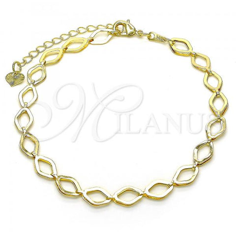 Gold Layered 03.318.0009.10 Fancy Anklet, Polished Finish, Golden Tone