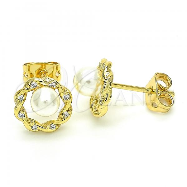 Gold Layered 02.156.0361 Stud Earring, Ball Design, with White Cubic Zirconia and Ivory Pearl, Polished Finish, Golden Tone