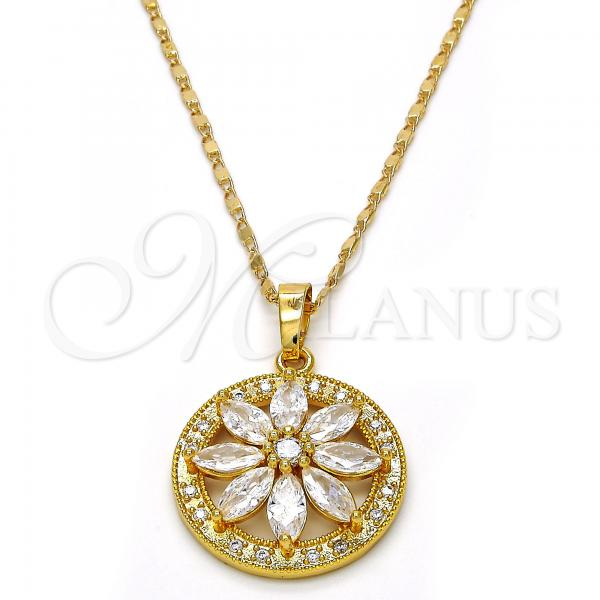 Gold Layered Pendant Necklace, Flower Design, with Cubic Zirconia, Golden Tone