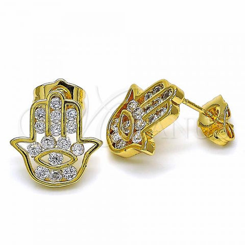 Gold Layered 02.344.0030 Stud Earring, Hand of God Design, with White Cubic Zirconia, Polished Finish, Golden Tone