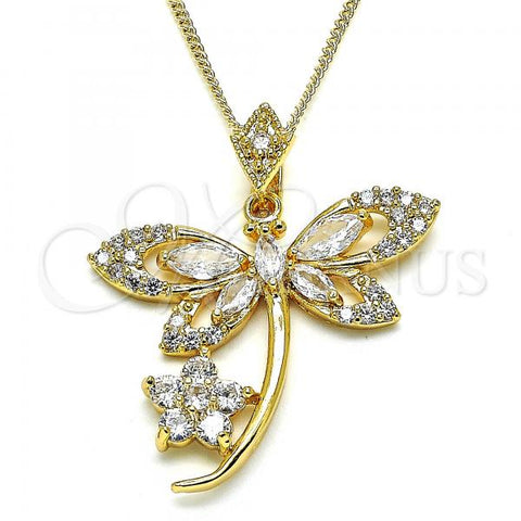 Gold Layered 04.283.0014.20 Pendant Necklace, Dragon-Fly and Flower Design, with White Cubic Zirconia, Polished Finish, Golden Tone