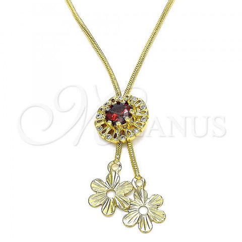 Gold Layered 04.347.0006.20 Fancy Necklace, Flower Design, with Garnet and White Cubic Zirconia, Polished Finish, Golden Tone