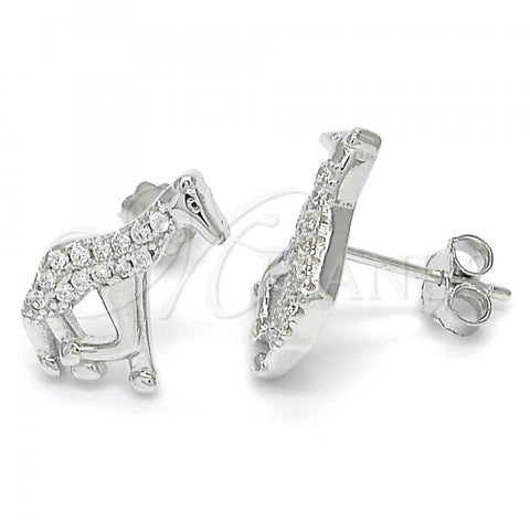 Sterling Silver 02.336.0064 Stud Earring, Giraffe Design, with White Crystal, Polished Finish, Rhodium Tone