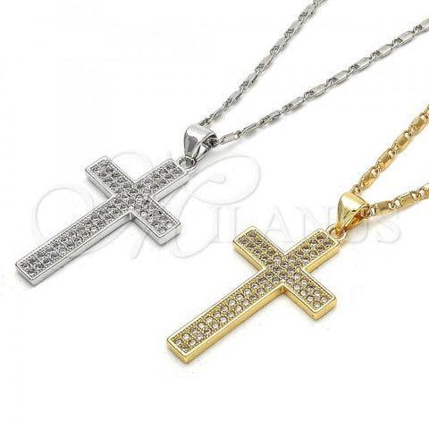 Gold Layered Pendant Necklace, Cross Design, with Micro Pave, Golden Tone