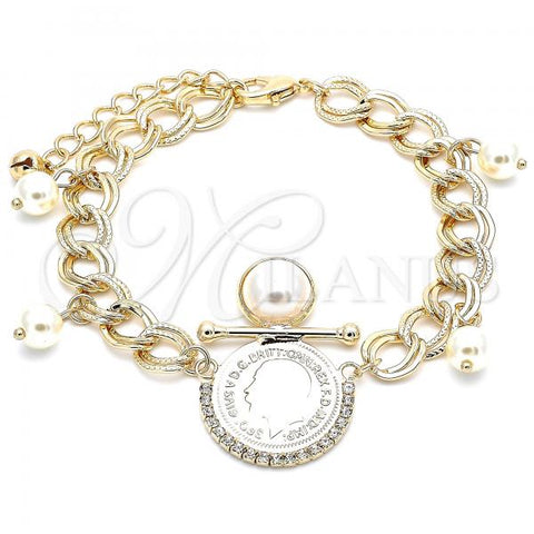 Gold Layered 03.331.0107.08 Charm Bracelet, with Ivory Pearl and White Crystal, Polished Finish, Golden Tone