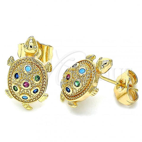 Gold Layered 02.210.0408.1 Stud Earring, Turtle Design, with Multicolor Micro Pave, Polished Finish, Golden Tone