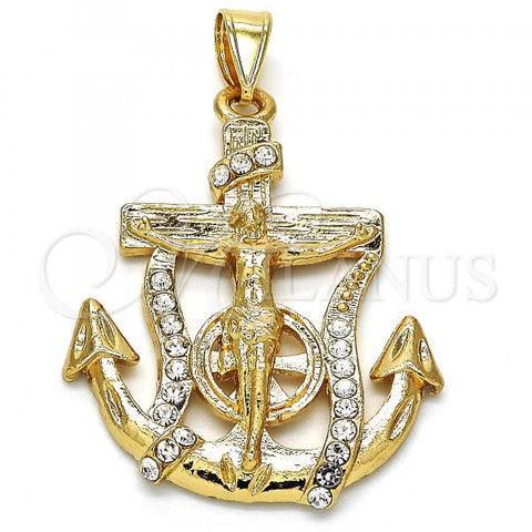 Gold Layered 05.253.0059 Religious Pendant, Crucifix and Anchor Design, with White Crystal, Polished Finish, Golden Tone
