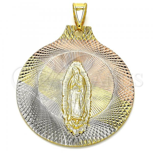 Gold Layered 05.253.0061 Religious Pendant, Guadalupe Design, Diamond Cutting Finish, Tri Tone