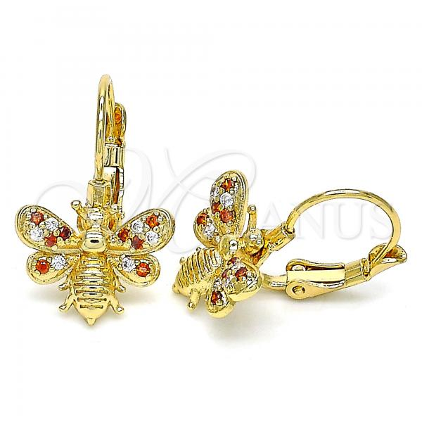 Gold Layered 02.210.0378.1 Leverback Earring, Bee Design, with Garnet and White Micro Pave, Polished Finish, Golden Tone