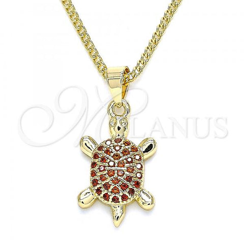 Gold Layered 04.344.0029.1.20 Pendant Necklace, Turtle Design, with Garnet Micro Pave, Polished Finish, Golden Tone