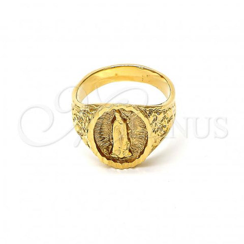 Gold Layered Mens Ring, Guadalupe Design, Golden Tone