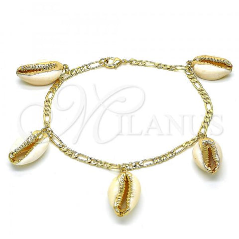 Gold Layered 03.63.2077.10 Charm Anklet , Polished Finish, Golden Tone