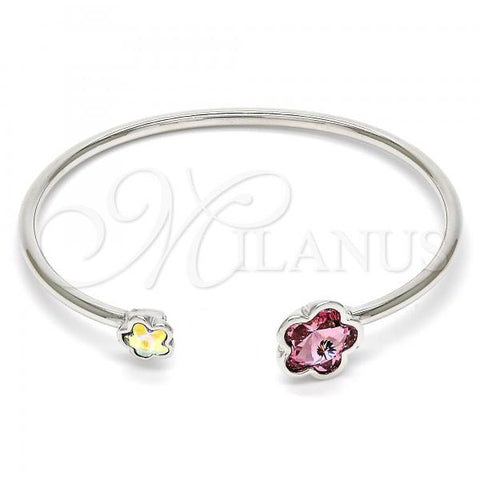 Rhodium Plated Individual Bangle, Flower Design, with Swarovski Crystals, Rhodium Tone