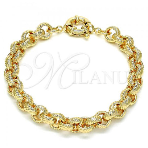 Gold Layered 03.378.0002.08 Basic Bracelet, Rolo Design, Diamond Cutting Finish, Golden Tone