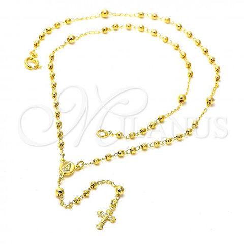 Gold Layered 04.09.0007.16 Thin Rosary, Caridad del Cobre and Cross Design, Polished Finish, Golden Tone