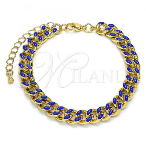Gold Layered 03.341.0075.2.07 Basic Bracelet, Miami Cuban Design, Blue Enamel Finish, Golden Tone