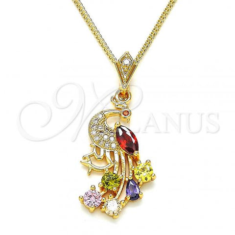 Gold Layered 04.283.0004.20 Fancy Necklace, Peacock Design, with Multicolor Cubic Zirconia, Polished Finish, Golden Tone