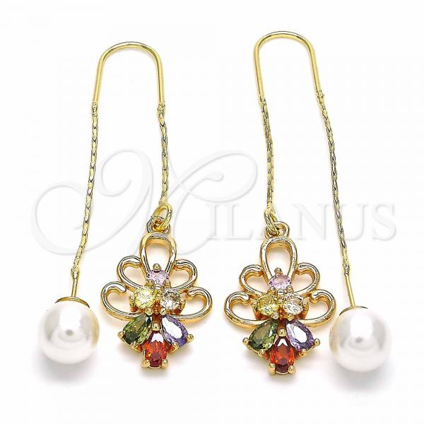 Gold Layered 02.323.0091 Threader Earring, Teardrop Design, with Multicolor Cubic Zirconia, Polished Finish, Golden Tone