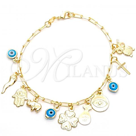 Gold Layered 03.32.0265.07 Charm Bracelet, Owl and Greek Eye Design, Polished Finish, Golden Tone