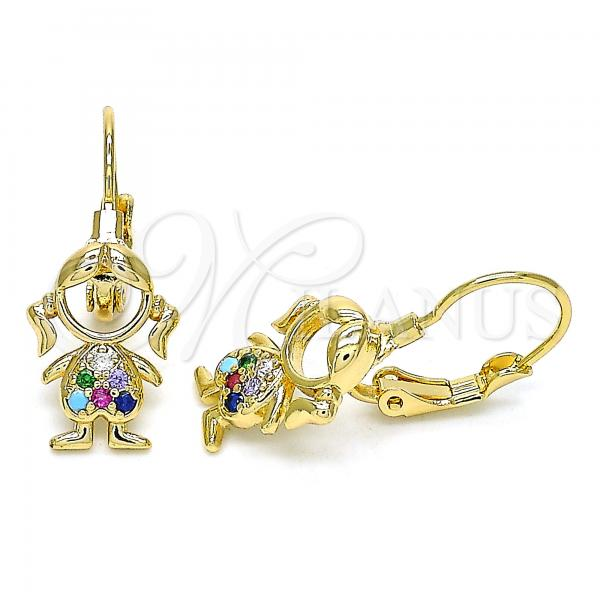 Gold Layered 02.210.0377.3 Leverback Earring, Little Girl Design, with Multicolor Micro Pave, Polished Finish, Golden Tone