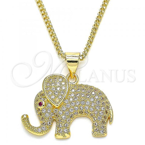 Gold Layered 04.199.0037.20 Pendant Necklace, Elephant Design, with White and Ruby Micro Pave, Polished Finish, Golden Tone