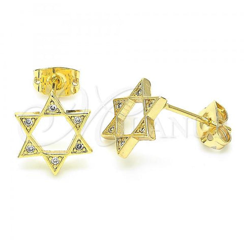Gold Layered 02.156.0392 Stud Earring, Star of David Design, with White Cubic Zirconia, Polished Finish, Golden Tone