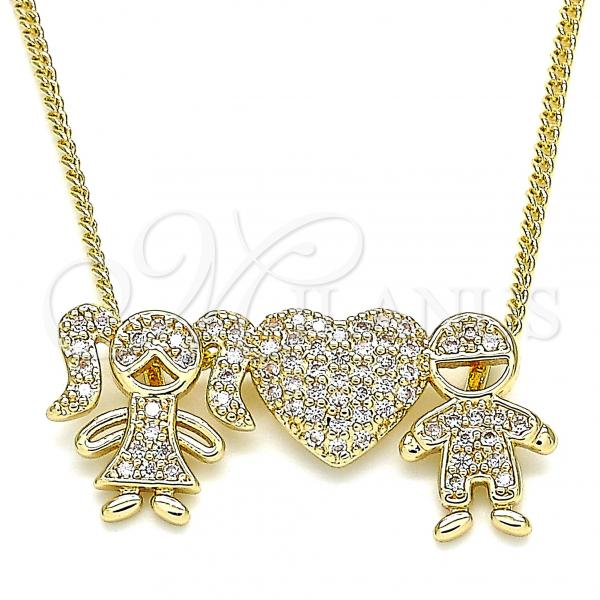 Gold Layered 04.156.0258.20 Pendant Necklace, Little Girl and Little Boy Design, with White Micro Pave, Polished Finish, Golden Tone