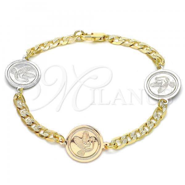 Gold Layered 03.63.2056.08 Fancy Bracelet, Bird Design, Polished Finish, Two Tone