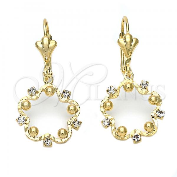 Gold Layered 095.019 Dangle Earring, Flower Design, with White Cubic Zirconia, Diamond Cutting Finish, Golden Tone