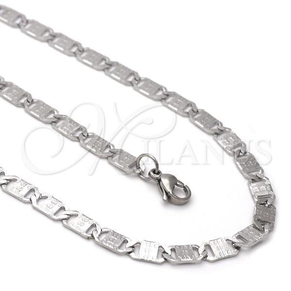 Stainless Steel 04.113.0044.24 Necklace and Bracelet, Mariner Design, Diamond Cutting Finish, Steel Tone