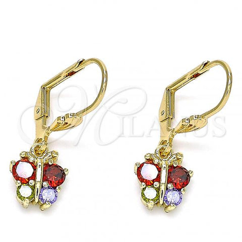 Gold Layered 02.210.0346.1 Dangle Earring, Butterfly Design, with Multicolor Micro Pave, Polished Finish, Golden Tone