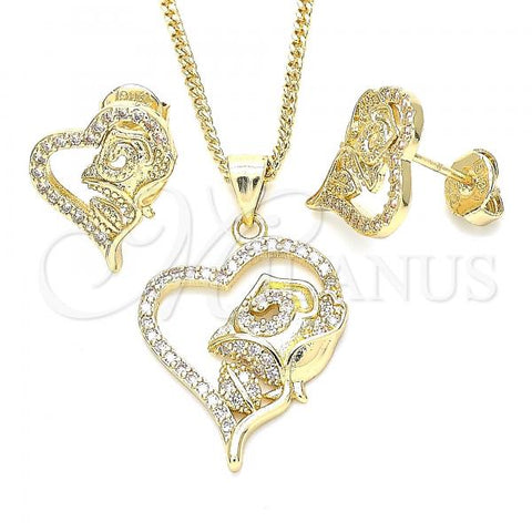 Gold Layered 10.199.0151 Earring and Pendant Adult Set, Heart and Flower Design, with White Cubic Zirconia, Polished Finish, Golden Tone