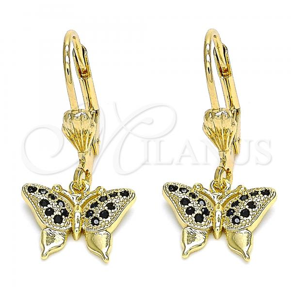Gold Layered 02.316.0066.2 Dangle Earring, Butterfly Design, with Black Micro Pave, Polished Finish, Golden Tone