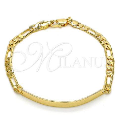 Gold Layered 5.226.010.1.07 ID Bracelet, Figaro Design, Polished Finish, Golden Tone