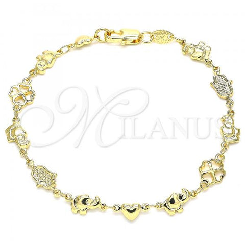 Gold Layered 03.326.0016.07 Fancy Bracelet, Elephant and Heart Design, Polished Finish, Golden Tone