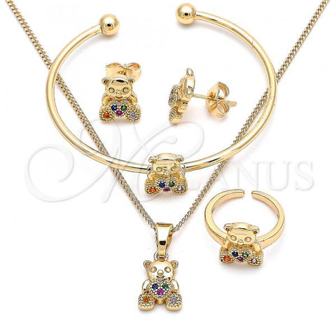 Gold Layered 06.210.0021.1 Earring and Pendant Children Set, Teddy Bear and Heart Design, with Multicolor Micro Pave, Polished Finish, Golden Tone